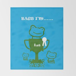 Little Frog- bags I'm first Throw Blanket