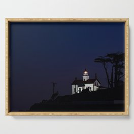 Battery Point Lighthouse in the night's blue cloak. Crescent City, California Serving Tray