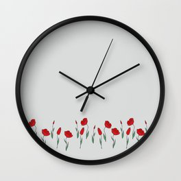 Row of red tulips on light gray. Wall Clock
