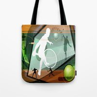tennis Tote Bags featuring Tennis by Robin Curtiss