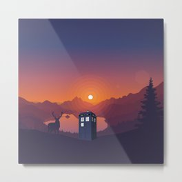 Tardis in forest Metal Print