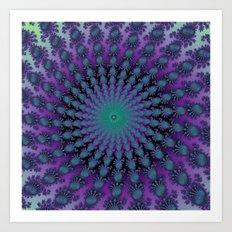 Cool Hued Purple Blue Braided Rug Fractal Art Print