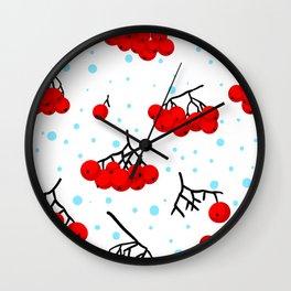Bunches of berries of rowan Wall Clock