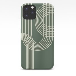 Minimalist Lines in Forest Green iPhone Case