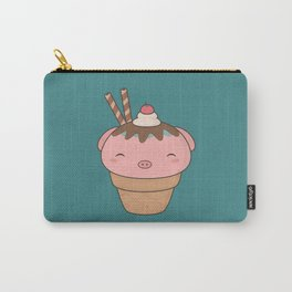 Kawaii Cute Pig Ice Cream Cone Carry-All Pouch