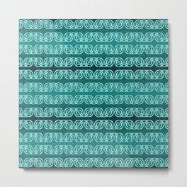 Chained Circles in Teal Metal Print