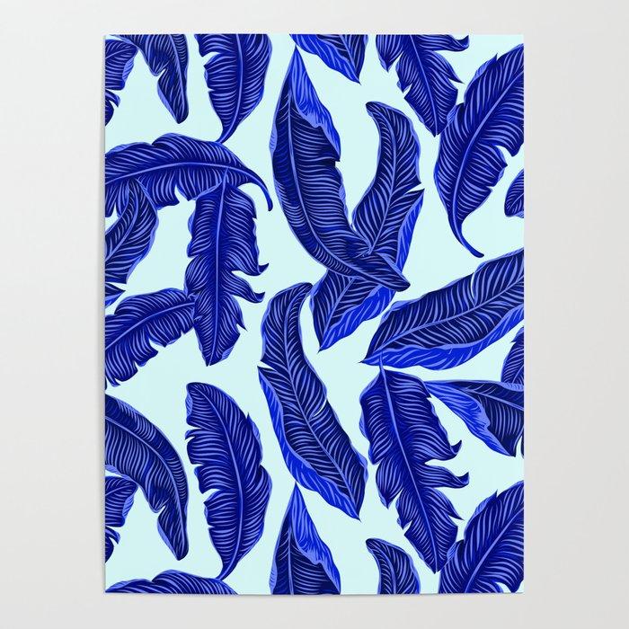 Banana leaves tropical leaves blue white #homedecor Poster