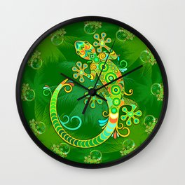 Gecko Lizard Colorful Tattoo Style Wall Clock