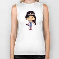amy hamilton Biker Tanks featuring Amy by Sombras Blancas Art & Design