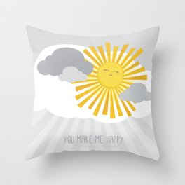 KAWAII SKY - smiling sun in grey clouds - you make me happy Throw Pillow