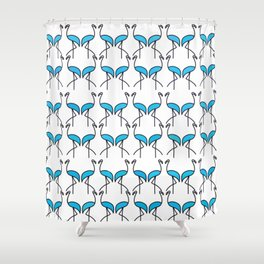 Coastal Pattern Blue Flamingos Shower Curtain