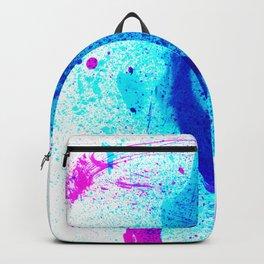 Vivid Shocking Aqua Blues Abstract Splatter Painting Backpack
