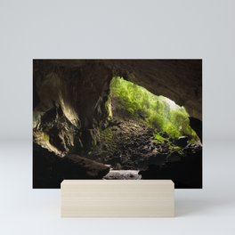 View from inside deer cave in gunung mulu national park looking outside Mini Art Print