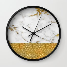 Luxury and glamorous gold glitter and white and gold marble Wall Clock