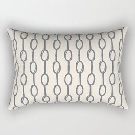 Pebble Dot Stripes Gray on Rose Petal Cream Rectangular Pillow