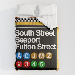 subway south street seaport sign Comforters