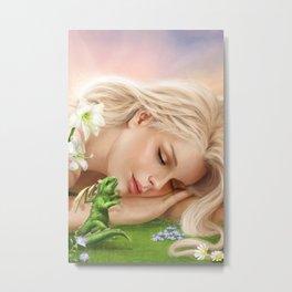 Wake up! Dragon Baby & Elf Metal Print