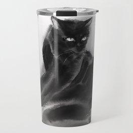 Grooming black cat Travel Mug