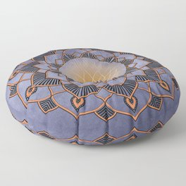Orange Lotus Flower Mandala On A Textured Blue Background Floor Pillow