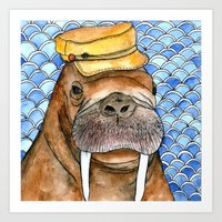 kevin russ Art Prints featuring Russ by Amy Nickerson