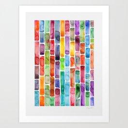 Colorful Brick Road Watercolor Art Print