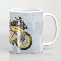 honda Mugs featuring Honda CBR1000 & Old Newspapers by Larsson Stevensem