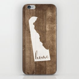 Delaware is Home - White on Wood iPhone Skin