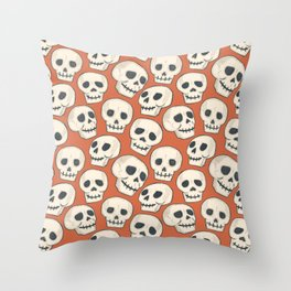 Spooky-vibe Skulls with Orange background  Throw Pillow