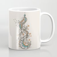 peacock Mugs featuring Peacock by Tracie Andrews