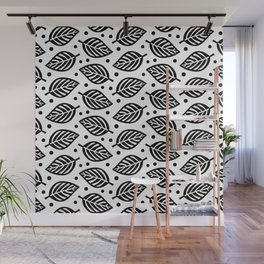 Mid Century Modern Falling Leaves Black and White 2 Wall Mural