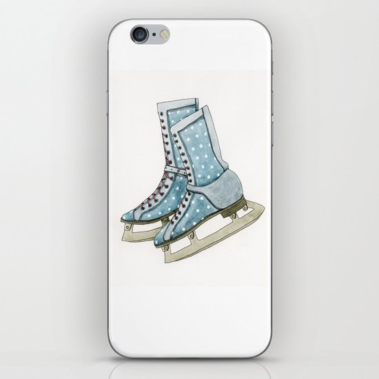 Polka dot ice skates iPhone & iPod Skin