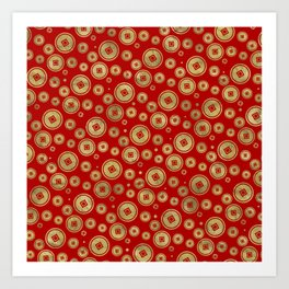 Chinese Coin Pattern Gold on Red Art Print