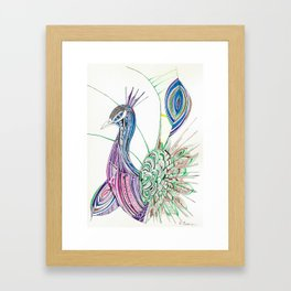 Lines & feathers Framed Art Print