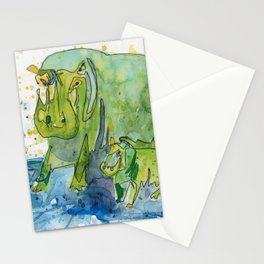 Hippo Mommy w/ Baby Hippo Stationery Cards