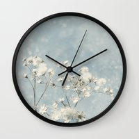 sale Wall Clocks featuring White Sale by V. Sanderson / Chickens in the Trees
