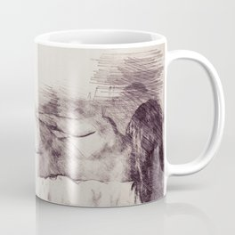 Lying on the bed. Nude studio Coffee Mug