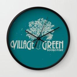Village Green Bookstore Tan on Green Wall Clock