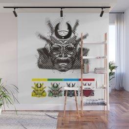 "Samurai 6. (Samurai mask ""F"" big and 4 small masks) Wall Mural"