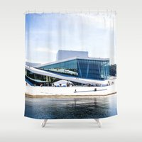 oslo Shower Curtains featuring Oslo - Opera by Linéa Lønhøiden