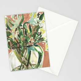 classical white lili flower bunch in vase Stationery Cards