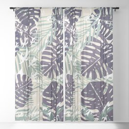 Mint and Monstera Sheer Curtain