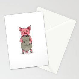 pig and bag with gold coins Stationery Cards
