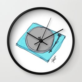 """Waxx"" Audiophile Turntable Blue Wall Clock"