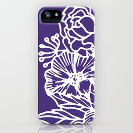 White Flowery Linocut Wreath On Checked UltraViolet iPhone Case