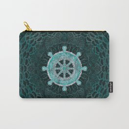 Dharma Wheel - Dharmachakra Silver and turquoise Carry-All Pouch