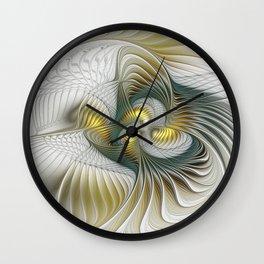 Noble And Golden, Abstract Modern Fractal Art Wall Clock