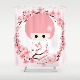 Sakura Kokeshi Shower Curtain