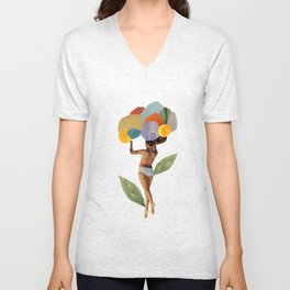 i walk out in the flowers and feel better Unisex V-Neck