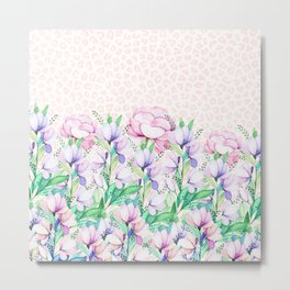 Pastel pink lavender watercolor floral animal print Metal Print