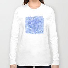 Denver Blueprint City Map Watercolor Long Sleeve T-shirt